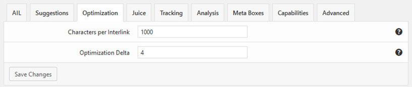 Menú Options Optimization Interlinks Manager