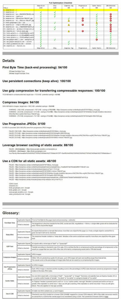 Pestaña Rendimiento de WebPageTest